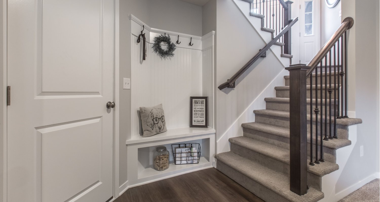 basement steps and mud room entry in Monarch floorplan